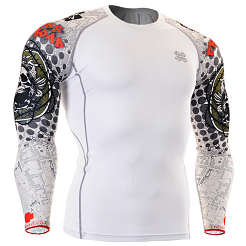 Fixgear compression skin tight skull graphic base layer white t shirt