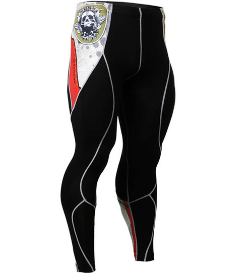 Fixgear compression skin tight skull graphic printed base layer black pants