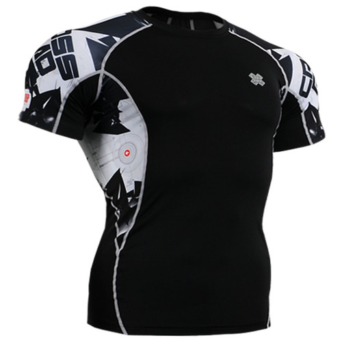 Fixgear Graphic running tight black base layer short sleeve