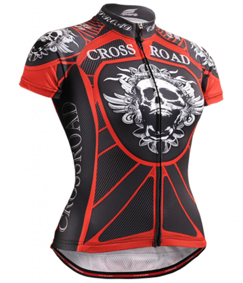 Fixgear skull printed cycling jersey for womens