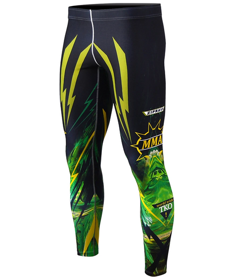 Green&Black BJJ Rashguard Sports Leggings
