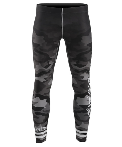 Black Camo Pattern Design Rash Guard Compression Tights
