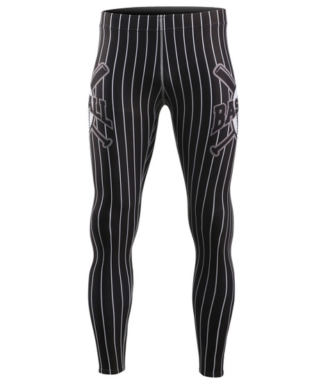 Black Baseball Design Compression Tight Pants