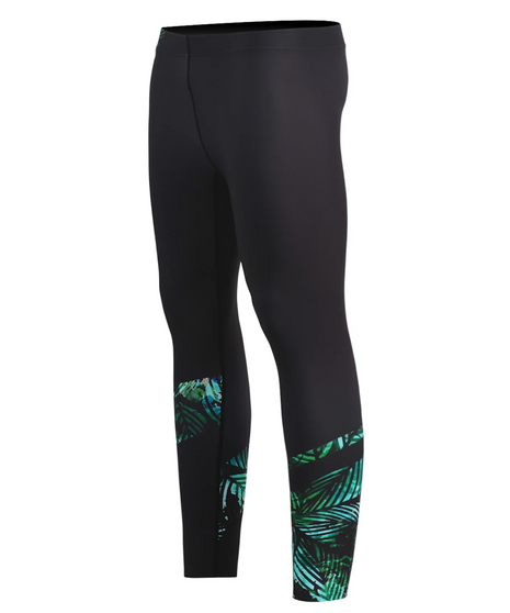 green leaves pattern design athletic compression tights