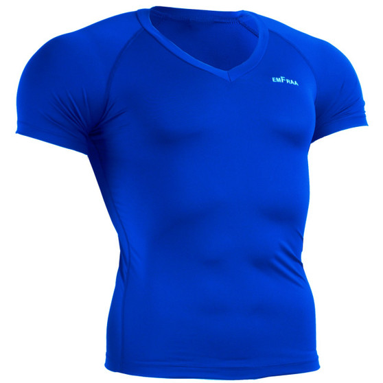 skin tight v-neck base layer Blue shirt emfraa