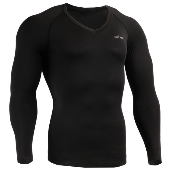 emfraa compression skin tight v-neck shirt black
