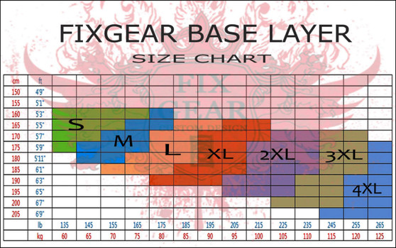 FIXGEAR compression base layer shirt size chart
