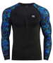 Blue leaves pattern design BJJ Workout compression top shirt