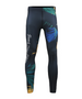 green&blue&yellow leaves design athletic tight fit summer pants