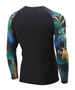 blue&green&yellow leaves design compression summer bjj rash guards