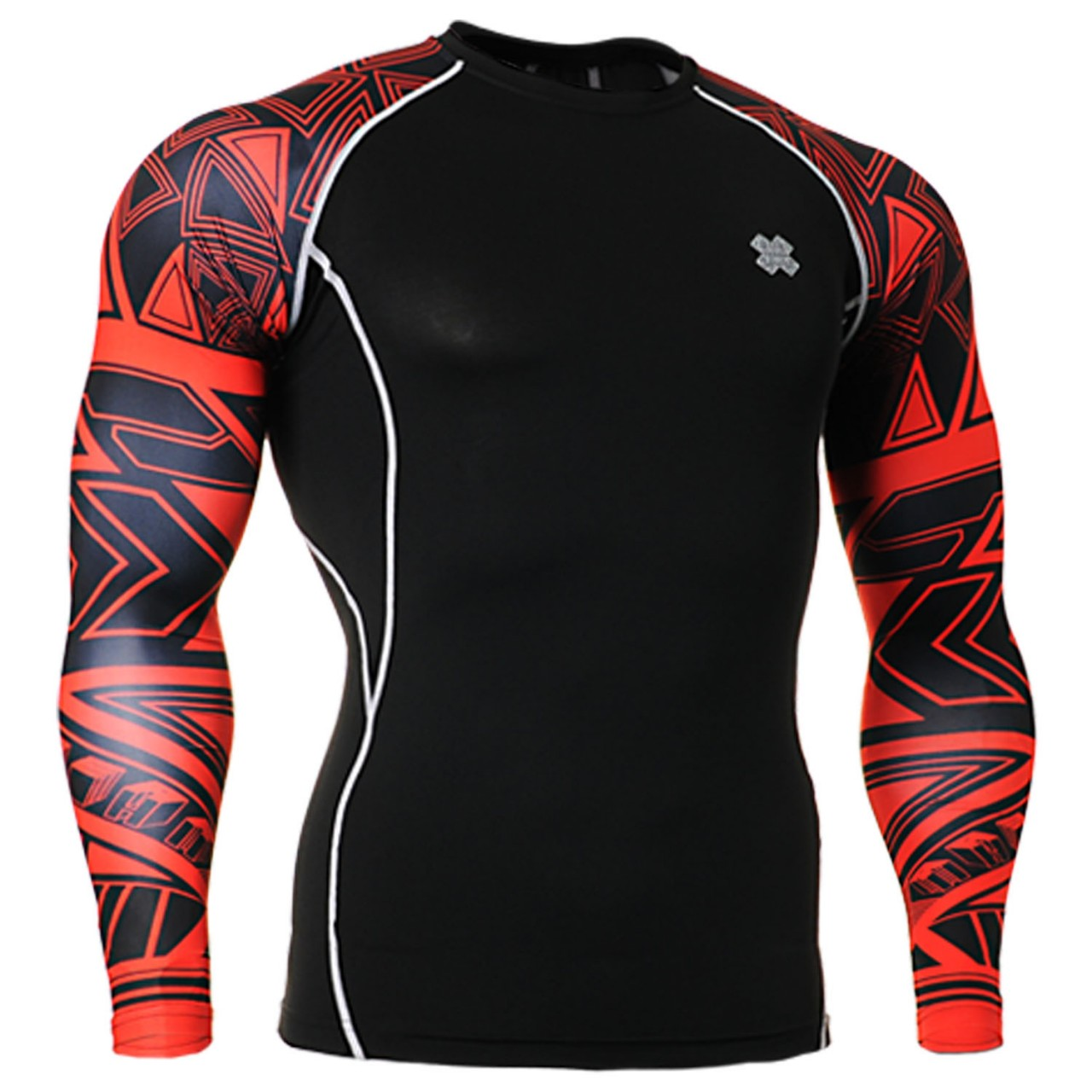 e57d7db554 Compression skin tight red printed base layer t shirt black S~4XL
