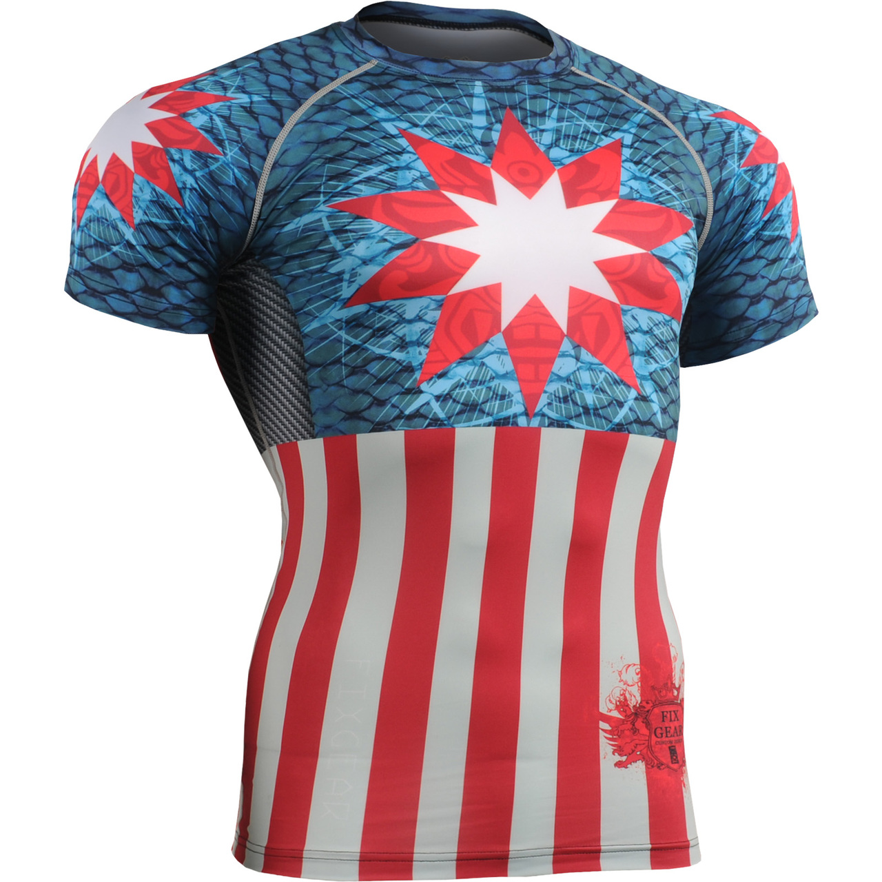 FIXGEAR CFS-73 Compression Base Layer Short Sleeve Shirts Workout Fitness MMA