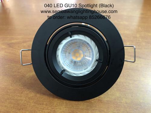 040/1 Black - Single Round LED GU10 Spotlight
