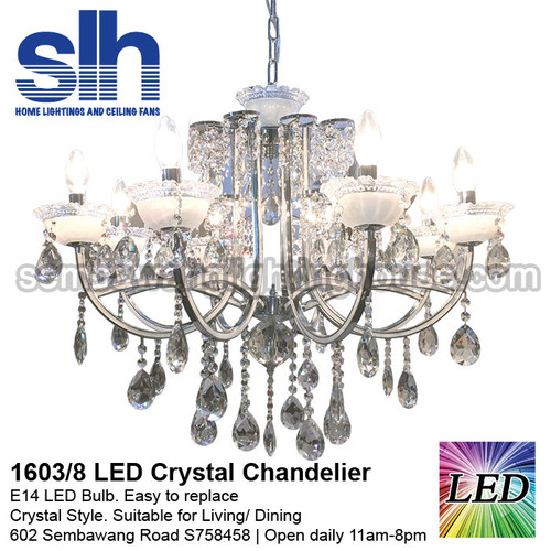 CC1-1603/8 LED Silver Crystal Chandelier