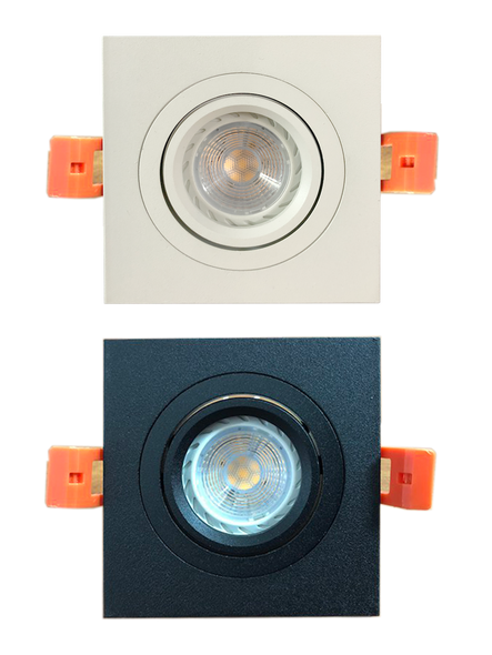1345/1 Square GU10 Spotlight (White/ Black)