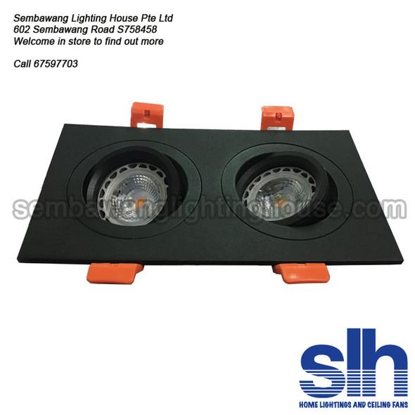 LED Spotlight Double Rectangle - GU10 1345/2 Black