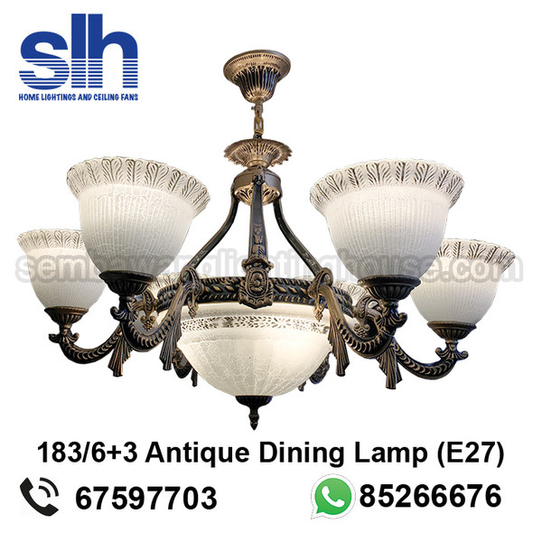 DL9-A183/6+3 Antique LED Dining Lamp