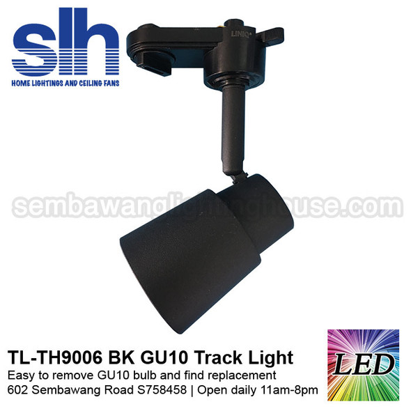 Track Light - TH9006 Black (FOC GU10 Bulb)