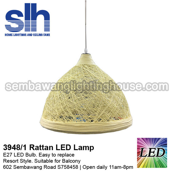 PL1-3948 White LED Rattan Pendant Lamp
