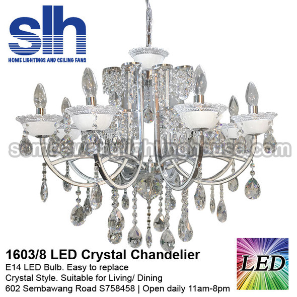 1603/8 LED Silver Crystal Chandelier
