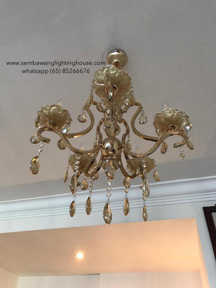 CC4-666/5 LED Gold Crystal Chandelier