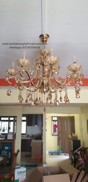 CC4-666/8 LED Gold Crystal Chandelier