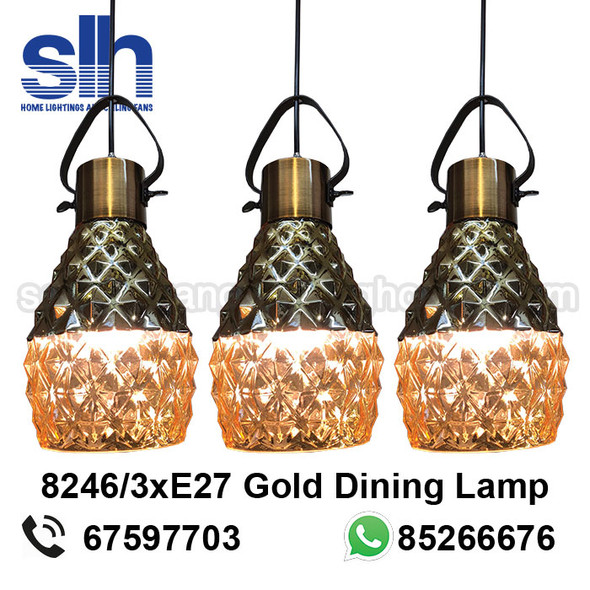 DL8-8246/3 Wood+Gold LED Dining Lamp