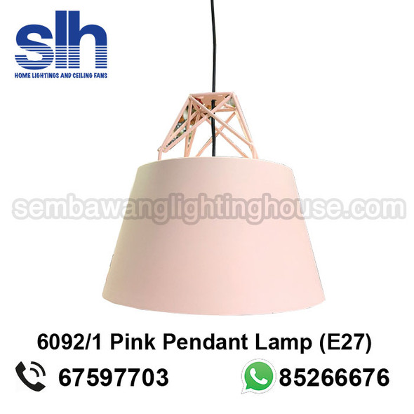 PL4-6092 LED Pink Round Shade Pendant Lamp