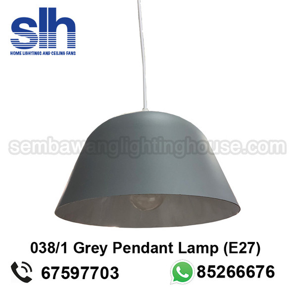 PL6-038/1 Grey E27 Pendant Lamp