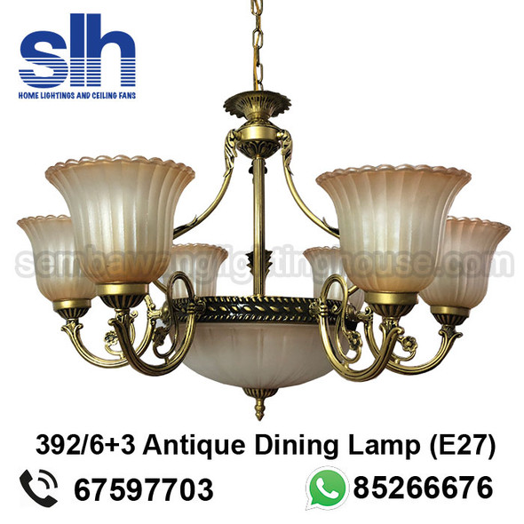 DL9-A392/6+3 Antique LED Dining Lamp