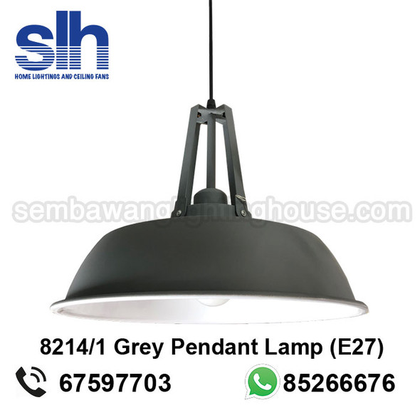 PL4-8214/1 Grey Drum E27 Pendant Lamp