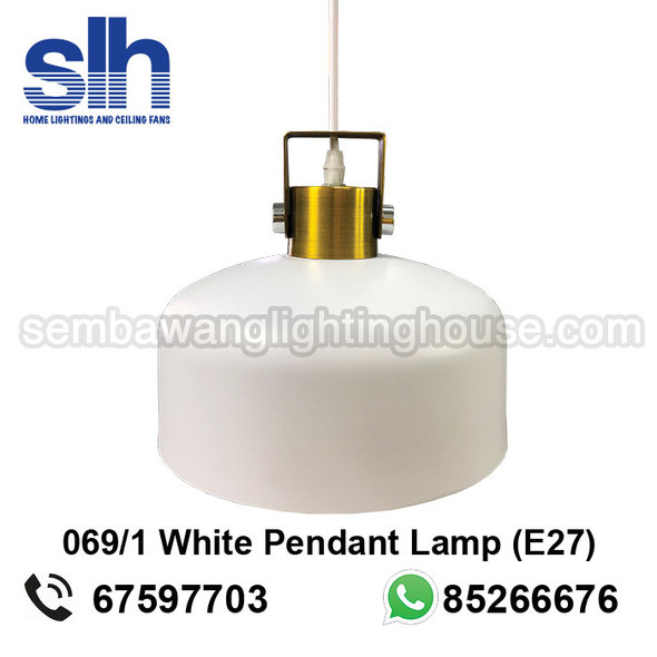 PL4-069/1 White Drum E27 Pendant Lamp