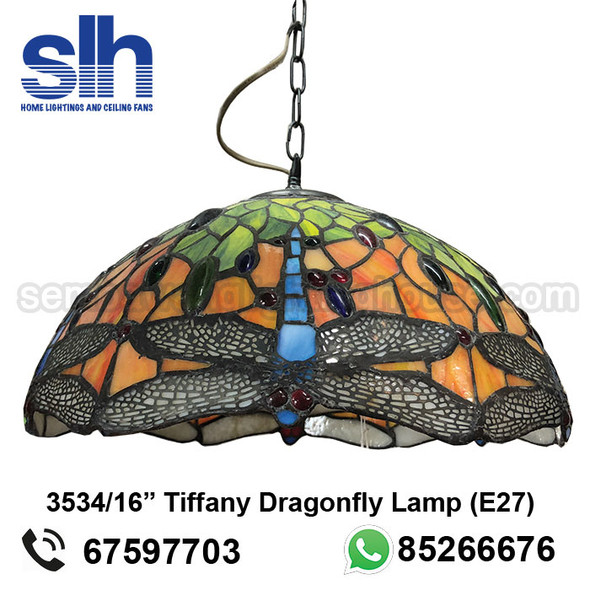 "PL0-3534/16"" Tiffany Dragonfly LED Dining Lamp"