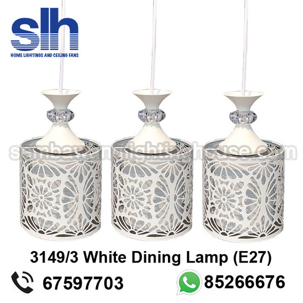 DL4-3149/3 White Acrylic LED Dining Lamp
