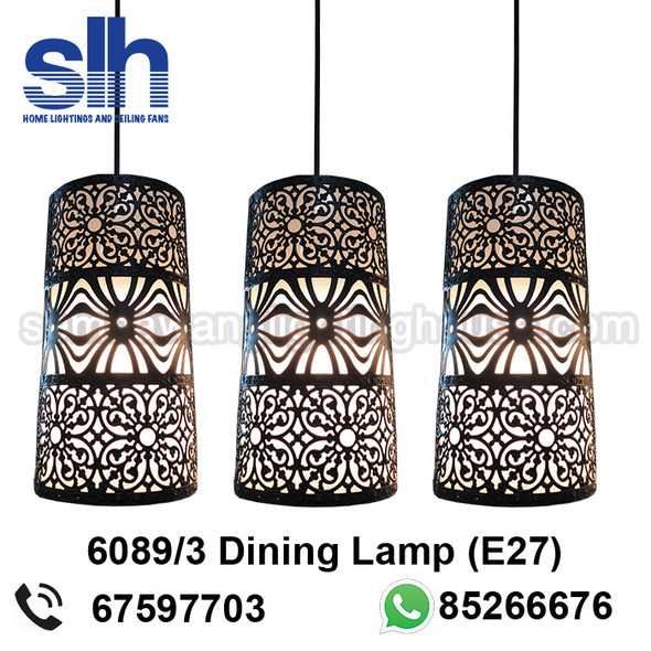 DL4-6089/3 Black Acrylic LED Dining Lamp