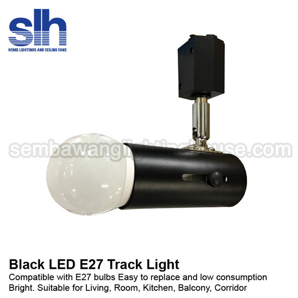Track Light - E27 Black Holder with 9W LED bulb