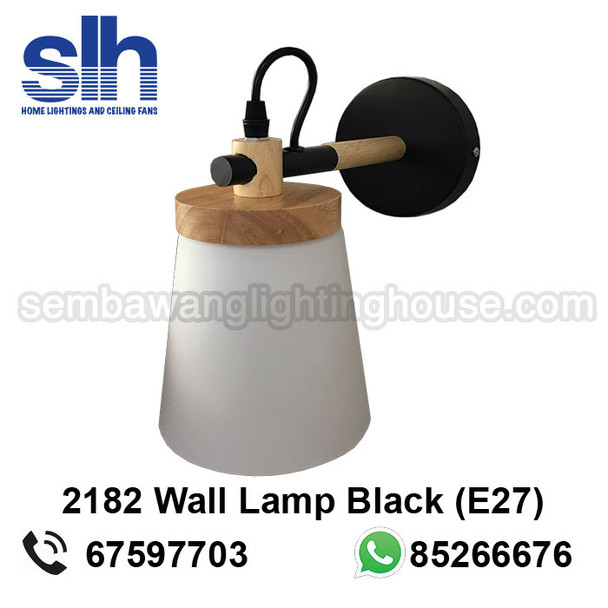 WL7-2182/1 Black+Wood Wall Lamp
