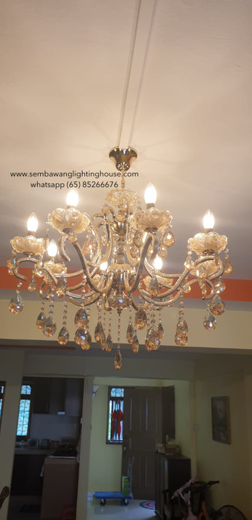 CC4-666/8 LED Gold Crystal Chandelier (Free install)