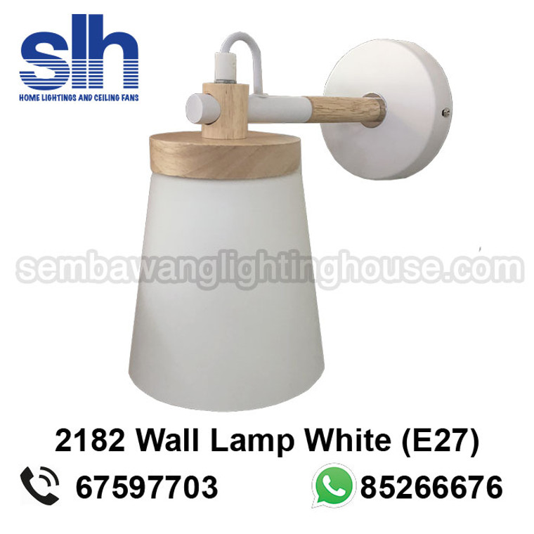 WL7-2182/1 White+Wood Wall Lamp