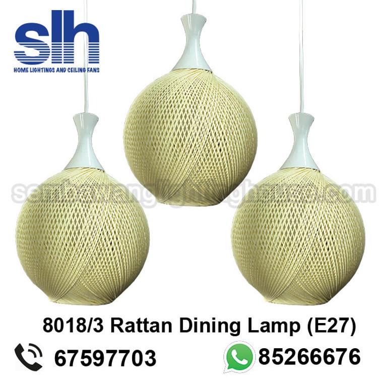 DL8-8018/3 Rattan LED Dining Lamp