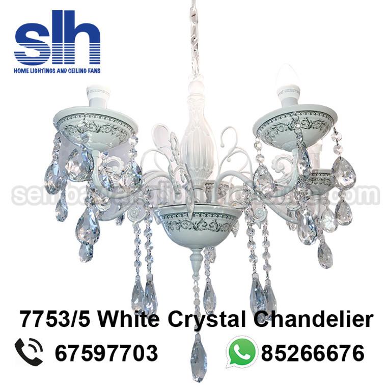CC5-7753/5 LED White Crystal Chandelier