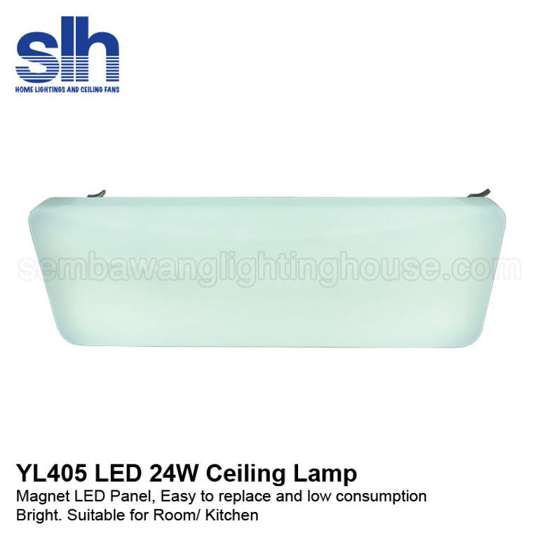 407/24W Plain Rectangle Acrylic Ceiling Lamp
