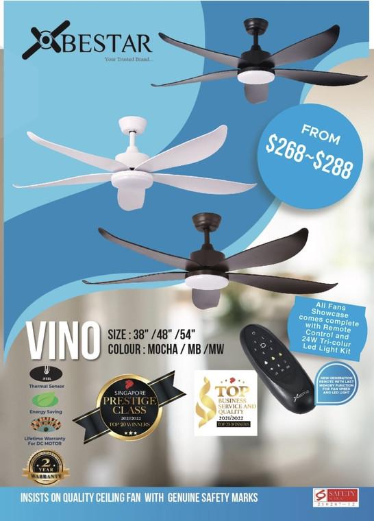 """Bestar Vino 38""""/48""""/54"""" 5 Blade Ceiling Fan"""
