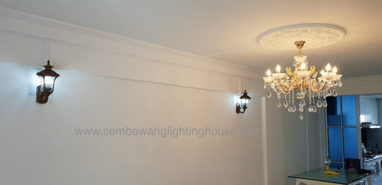 13-led-antique-wall-lamp-and-gold-chandelier-hdb-sembawang-lighting-house.jpg