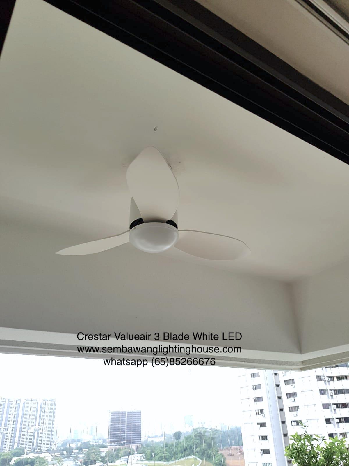 crestar-valueair-3-blade-white-ceiling-fan-sample installed on condominium balcony