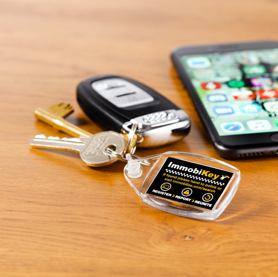 ImmobiKey fob attached to a set of keys
