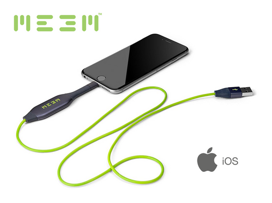 MEEM Memory for iOS (32GB, 64GB, 128GB options) - Automatic backup and charging cable in one device