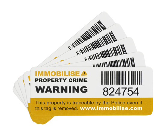 Immobilise Barcoded Security Tags/Stickers (roll of 1000 labels)