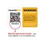 Warning label serial number - You must register on Immobilise.com