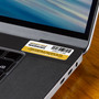 Barcoded security warning label attached to laptop and can be used for any item of property.